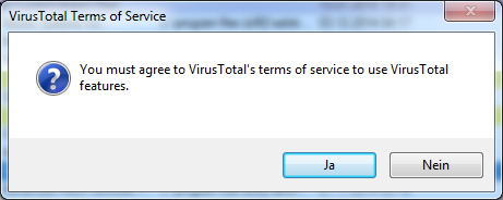Agree to VirusTotals terms of service