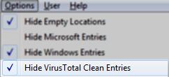 Autoruns: Hide VirusTotal Clean Entries